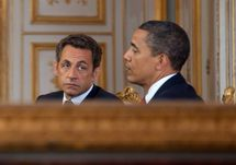 Nicolas Sarkozy et Barack Obama le 6 juin 2009 lors de la conférence de presse conjointe