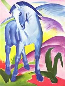 Le cheval bleu de Franz Marc en 1914. Ironie du sort, il sera tué deux ans plus tard lors d'une reconnaissance à cheval près de Verdun.