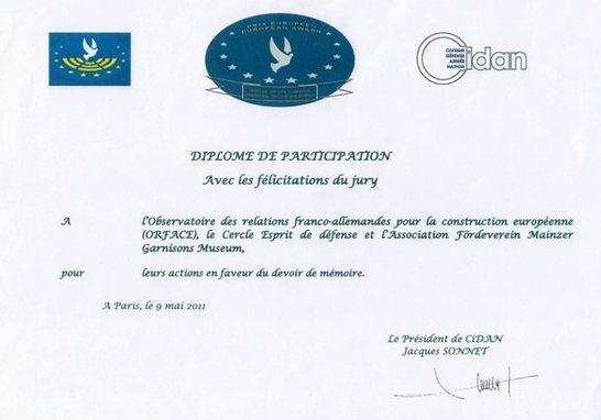 Félicitations pour le Cercle Esprits de Défense