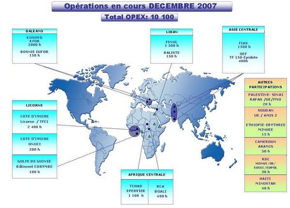Carte des opérations extérieures des Forces françaises en décembre 2007