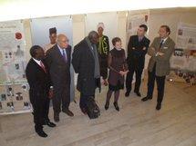 Les organisateurs du colloque autour de Laurence Demonet, Vice-Présidente du Conseil Régional de Lorraine lors de l'inauguration de l'exposition
