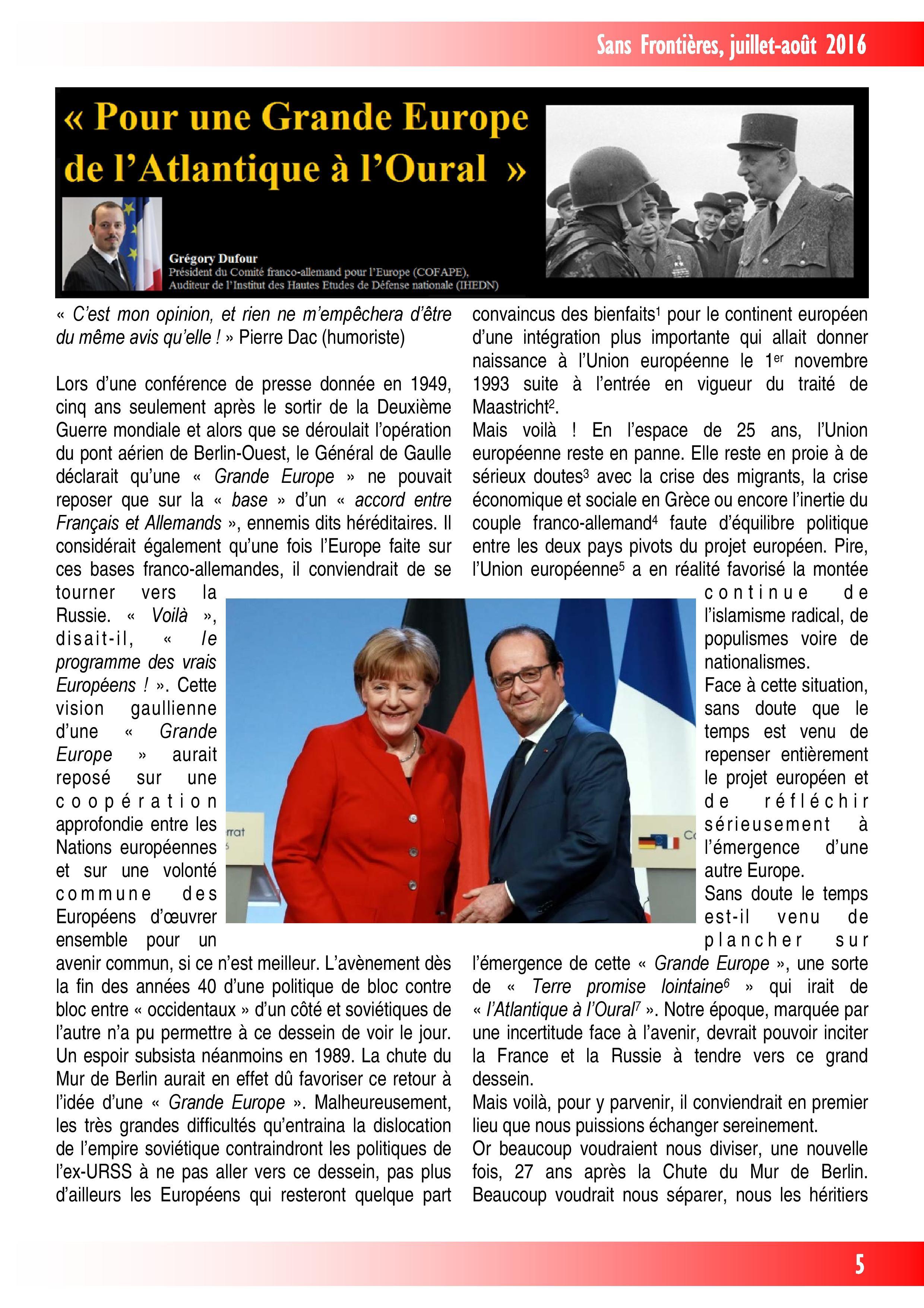 Pour une Grande Europe de l'Atlantique à l'Oural