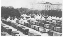 Photographie de l'Esplanade de Metz, sur laquelle se trouve des wagons de chemin de fer où  été soignés les blessés de l'armée du Général Bazaine  - Archives municipales de Metz